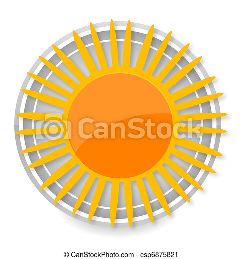 glass sun symbol yellow color isolated - csp6875821