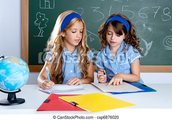 kids students in classroom helping each other - csp6876020