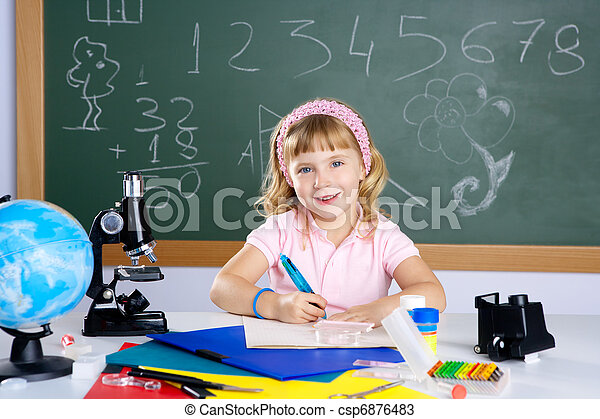 children little girl at school classroom with microscope - csp6876483