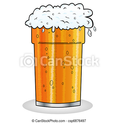 Pint of beer cartoon style - csp6876497