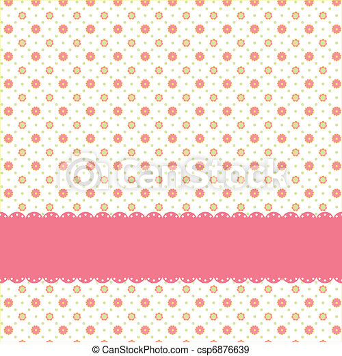 Pink flower polka dot seamless pattern - csp6876639