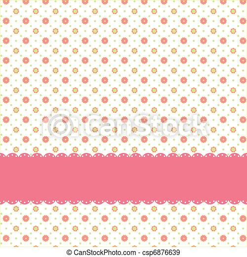 Pink flower polka dot seamless pattern - csp6876639