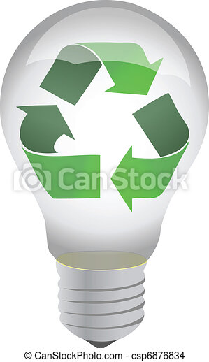 recycle lightbulb illustration - csp6876834