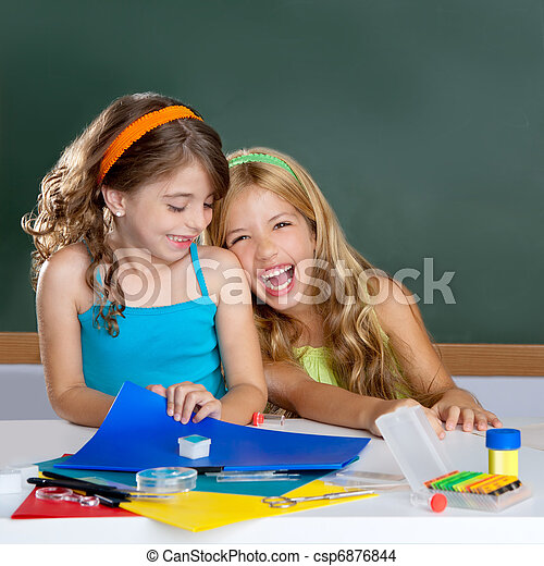 happy laughing kids student girls at school classroom - csp6876844
