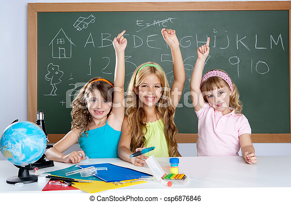 clever kids student group at school classroom - csp6876846