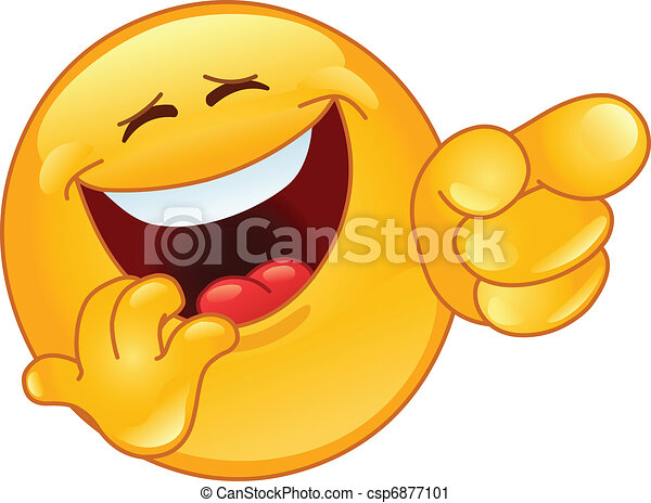 Laughing and pointing emoticon - csp6877101