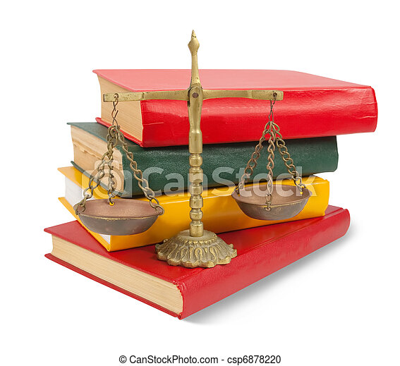 Scales of justice atop legal books over white - csp6878220