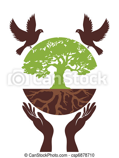 Eco Tree with bird and hand. Vector - csp6878710