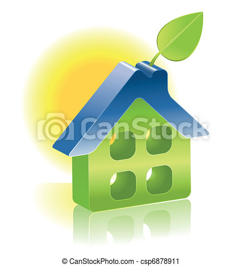 3d home icon with green leaf - csp6878911