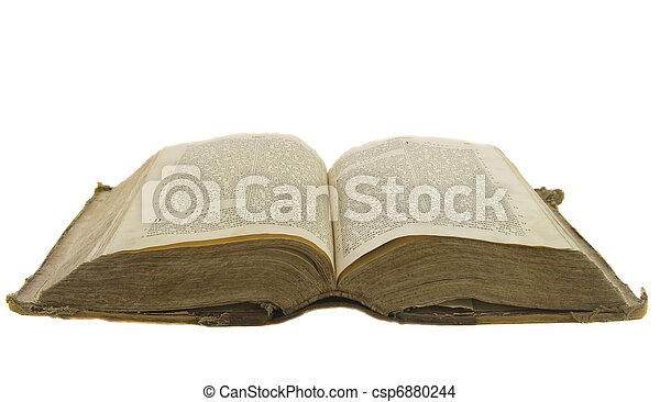 Vintage old book bible open for reading isolated on white - csp6880244