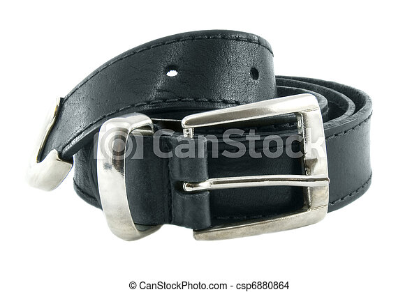Leather black belt isolated over white background - csp6880864