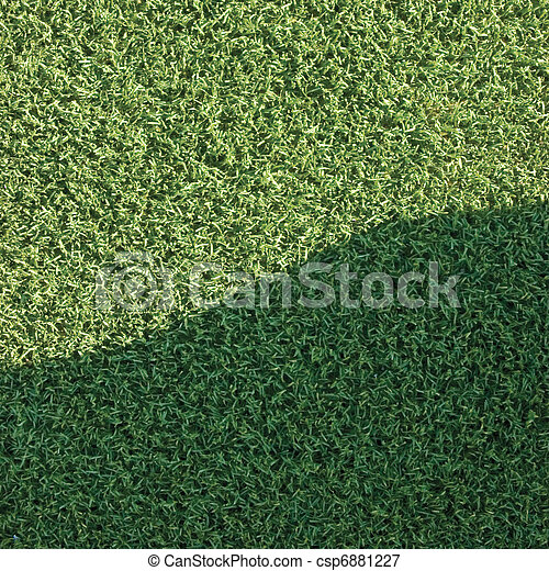 Artificial grass fake turf synthetic lawn field macro closeup - csp6881227