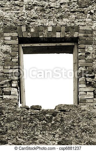 Ruined rustic limestone boulder rubble wall masonry stonework - csp6881237