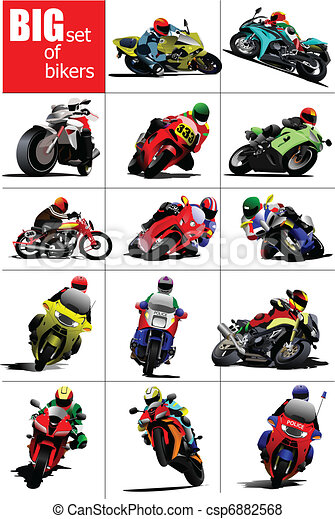 Big set of Bikers on the road. Vec - csp6882568