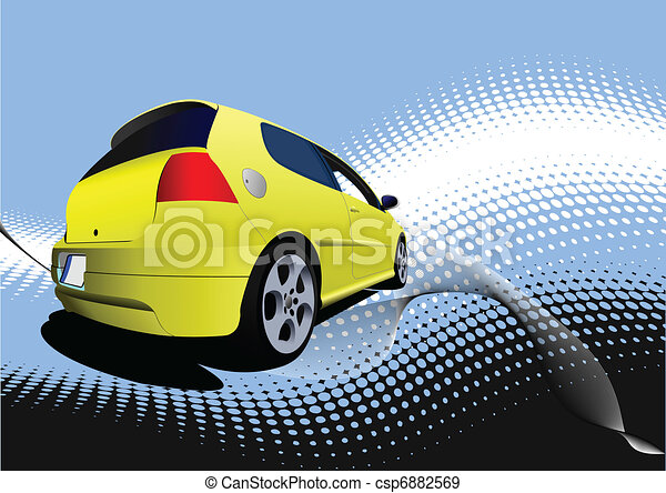 矢量-黄色, 汽车, 小轿车, 道路, vect