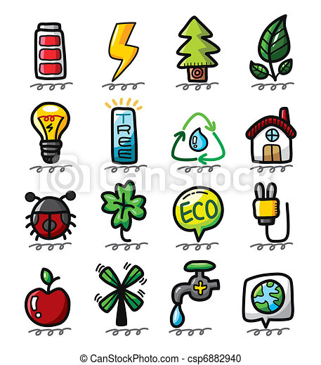 hand draw cartoon eco icons - csp6882940