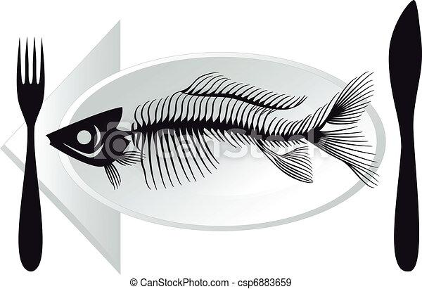 Fish Bones Drawing Fish Bones on Plate