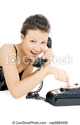 young alluring girl calling at the phone - csp6884406