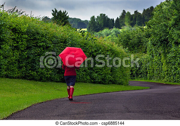 Woman with red umbrella on an overcast day. - csp6885144