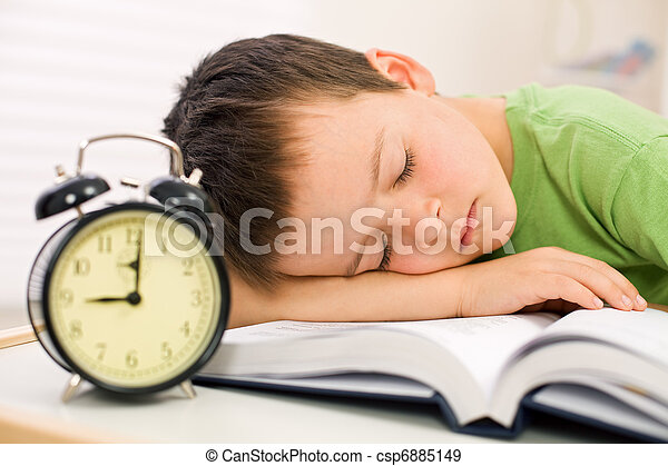 Past bedtime for little schoolboy - csp6885149
