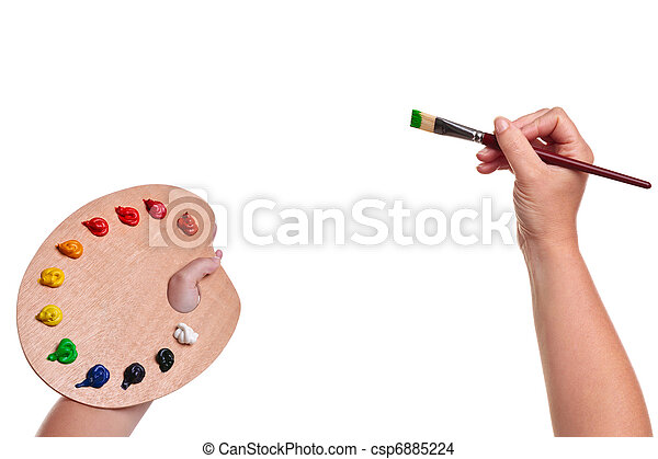 Artists hands with paint brush and palette isolated - csp6885224