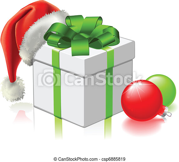 Christmas gift with Santa Hat and Baubles - csp6885819