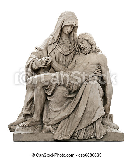 maría, luto, cristo, estatua, jesús - csp6886035