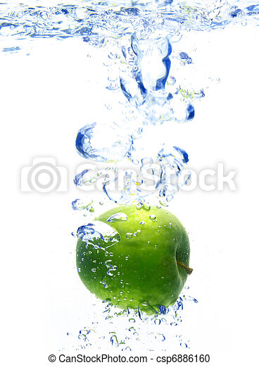 A background of bubbles forming in blue water after apple are dropped