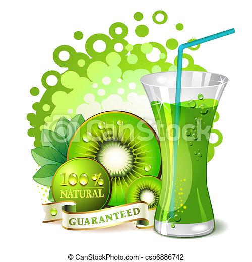 Kiwi Slice Drawing Glass of Kiwi Juice