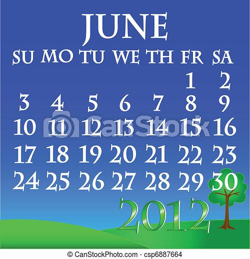 June 2012 landscape calendar - csp6887664