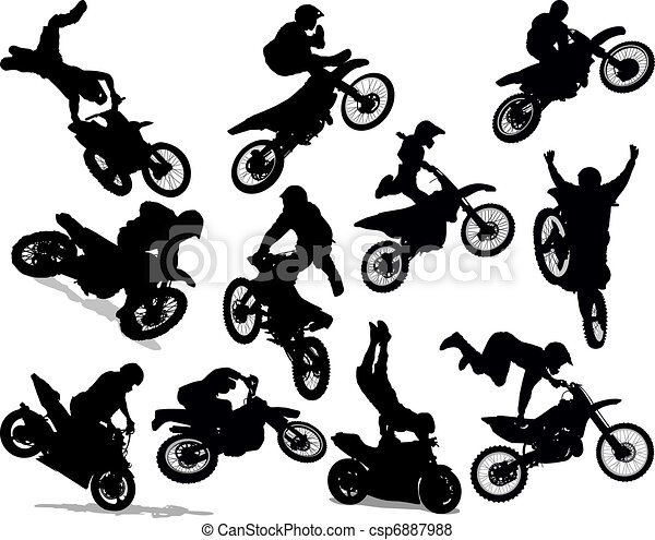 vecteur de acrobatie  ensemble  silhouette  motocyclette motocross clipart free motocross clipart images