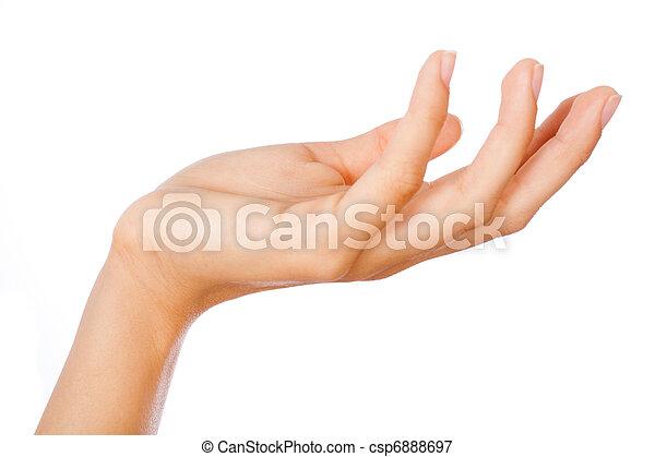 Gesture of womans open hand - csp6888697