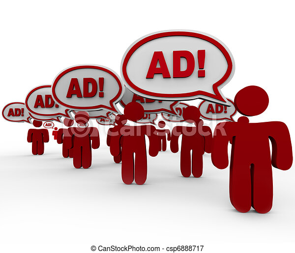Advertising Overload - Many Sellers Say Ad in Speech Clouds - csp6888717