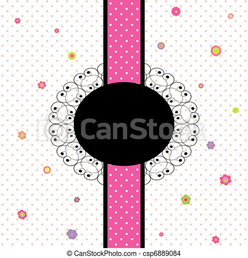 card design with colorful flower and polka dot - csp6889084
