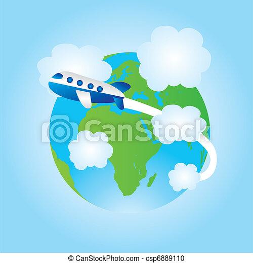 earth and airplane cartoon  - csp6889110