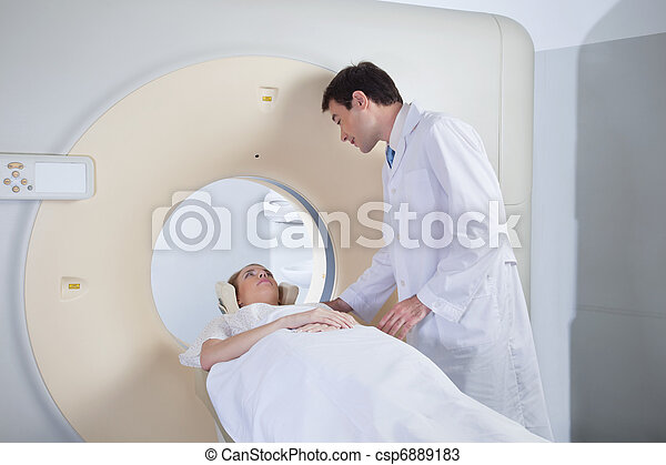 Young woman receiving CT scan - csp6889183