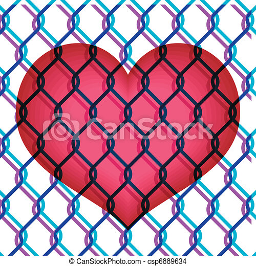 red heart under chain link fence  - csp6889634