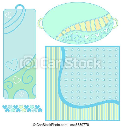 Background, tags and trim with hearts - csp6889778