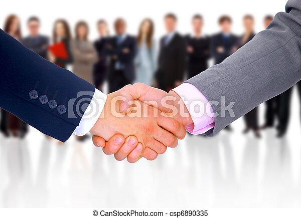 handshake isolated on business background - csp6890335