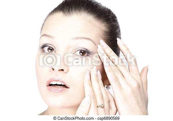 Woman's face with the wrinkles on her forehead - csp6890569