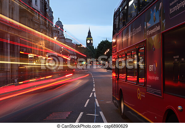 Big Ben and buses at dawn in London city England - csp6890629