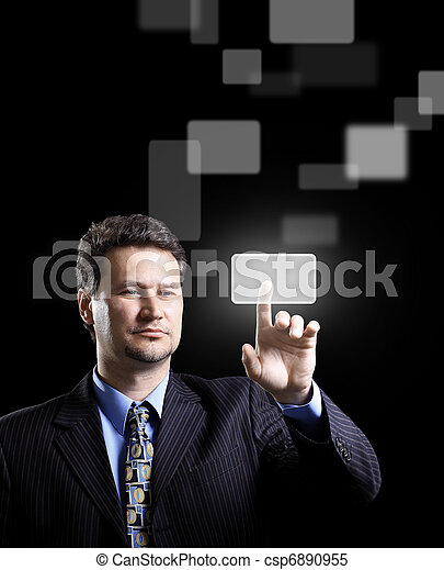 Business man pressing a touchscreen button - csp6890955