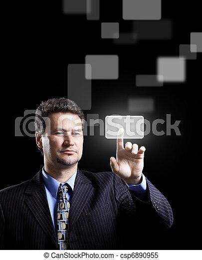 Business man pressing a touchscreen button  - csp6890955
