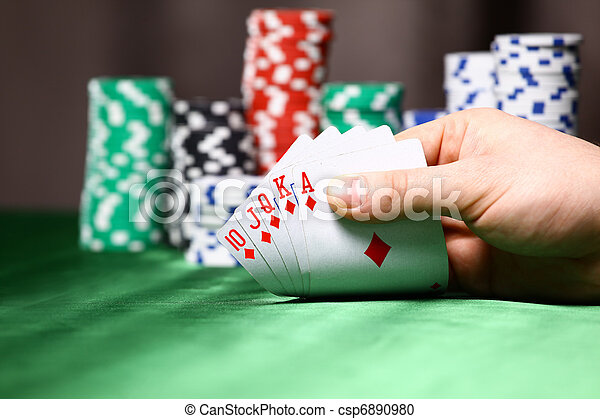 Place a poker player. chips and card - csp6890980