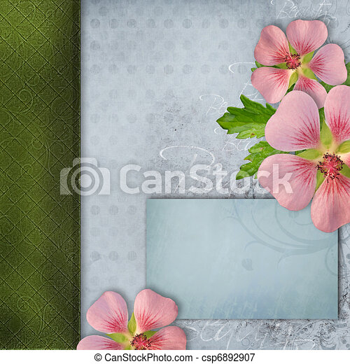 cover for album with bouquet of pink flowers - csp6892907