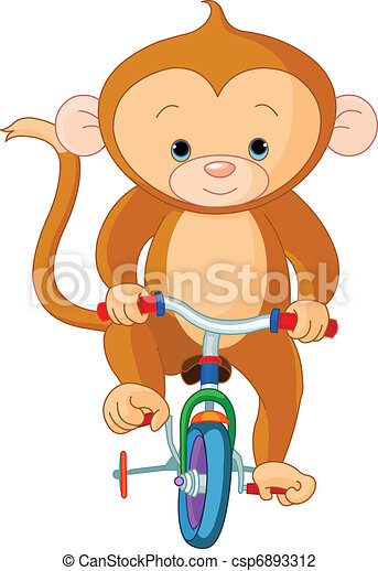 Monkey  on Bicycle - csp6893312
