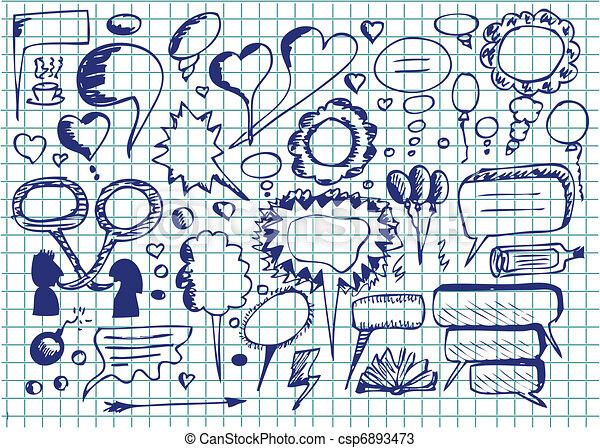 hand drawn dialog icons  - csp6893473