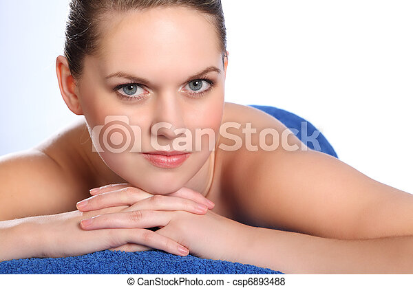 Woman in health spa for beauty pamper treatment - csp6893488