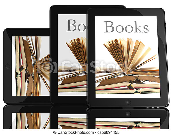 Group of Tablet PC Computer and books - csp6894455