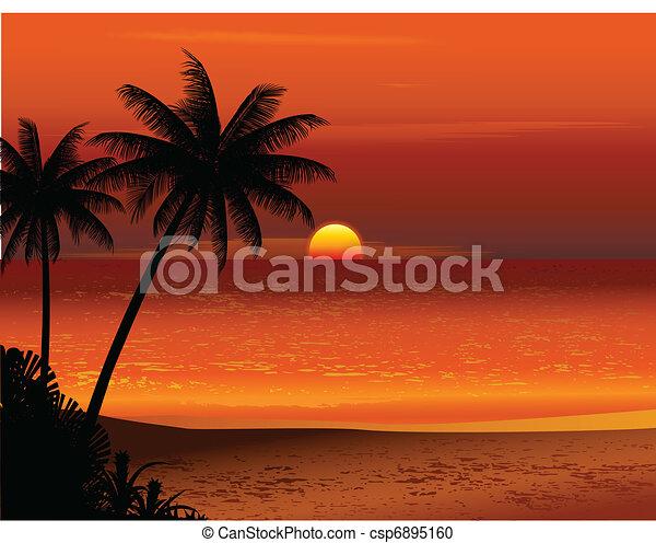 Clipart Vecteur de exotique, plage, Coucher soleil ...